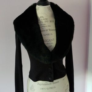 Sweater with Faux fur collar M Black